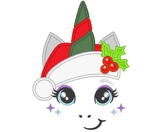 Christmas Unicorn head with Santa hat applique machine embroidery designs unicorn face Merry Christmas
