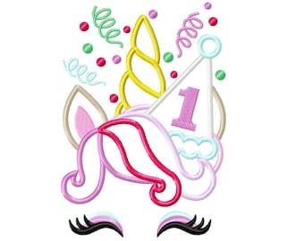 Birthday number ONE 1 party birthday rainbow unicorn confetti crown Unicorn birthday hat machine embroidery design applique Rainbow unicorn