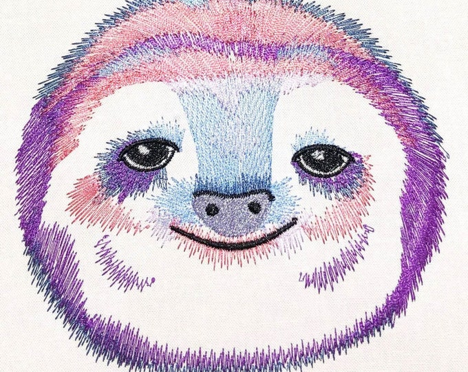 Sloth face, pretty eyes sloth, sloth head machine embroidery designs 4x4, 5x7 adorable cute animal sloth portrait INSTANT DOWNLOAD