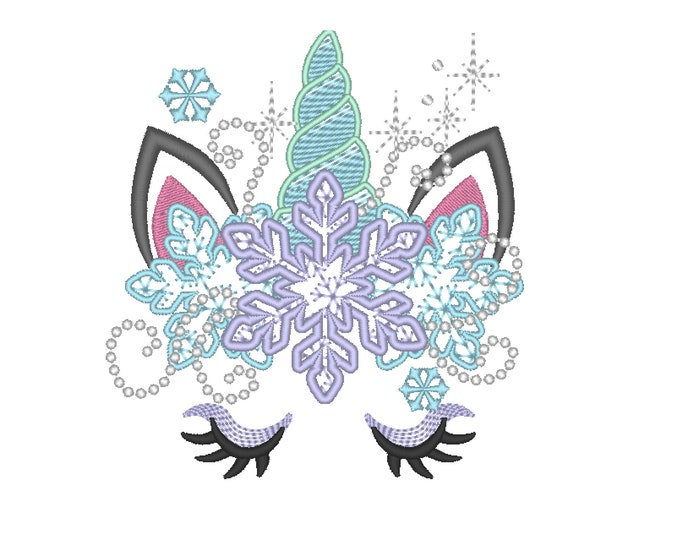Frozen Christmas Unicorn head with snowflakes crown light stitch machine embroidery designs unicorn face with snowflakes Merry Christmas