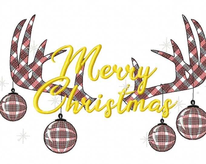 Pajama Christmas party Light stitch Antlers Deer Silhouette gingham tartan Pajamas embroidery designs -  7, 10, 12 inches