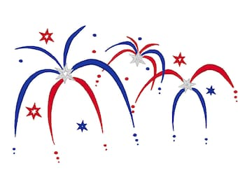 Fire Work  - Fourth of July  - machine embroidery fill stitch design INSTANT DOWNLOAD - for hoop 4x4, 5x7 and 6x10