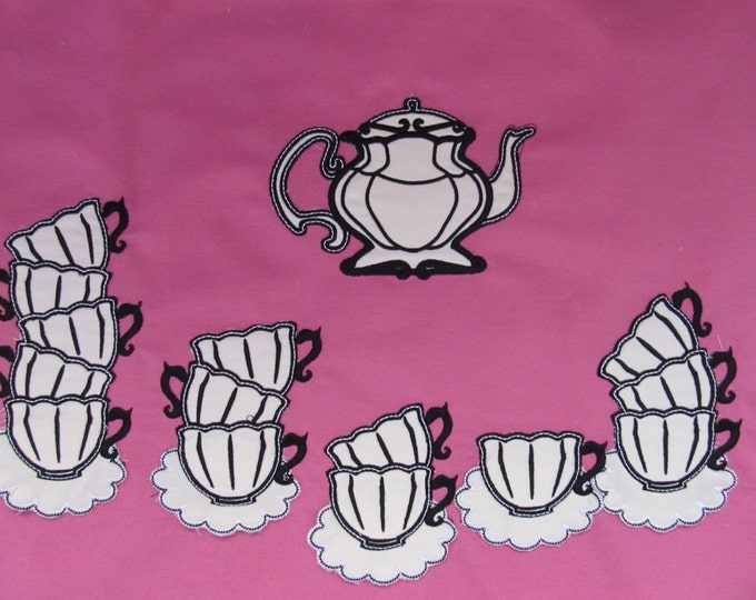 Tea party, Stacks of teacups, curved Stack of teacups and plates are easy ITH machine embroidery applique designs
