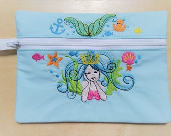 Mermaid summer sea Pouch, Envelope ITH, Pocket, ITH, bag, zip bag, In The Hoop Machine Embroidery designs In-The-Hoop 5x7 and 6x10