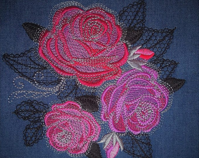 Swirl Shabby Chic Rose Urban roses bouquet - machine embroidery designs for embroidery hoops 4x4 5x7 and 6x10