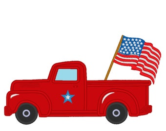 4th of July Vintage station wagon red truck back, truck with flag machine embroidery applique designs