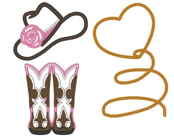 Cowgirl attributes collection single designs - add-ons machine embroidery applique designs cowgirl hat boots heart lasso INSTANT DOWNLOAD