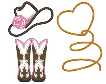 Cowgirl attributes collection single designs - add-ons - machine embroidery applique designs -