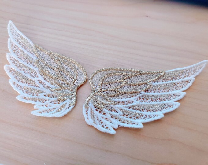 Golden angel lace wings FSL, Free standing angel wings embroidery designs 4x4 5x7 assorted sizes Used with water soluble stabilizer