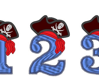 Pirate Birthday Hat Numbers , machine embroidery applique designs - 4, 5 and 6 inches INSTANT DOWNLOAD