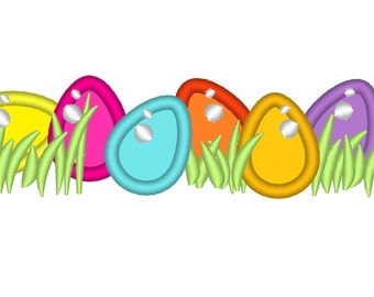 Tiny eggs with grass -  machine embroidery applique designs - 4x4 and 5x7, may be used as continue design  INSTANT DOWNLOAD