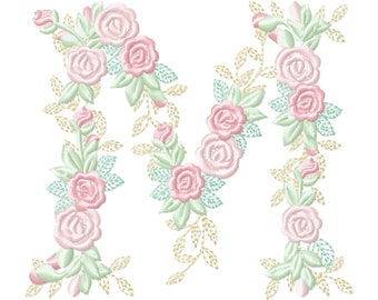 Delicate Roses Floral letter M garden flag monogram flowers flower flowered Font machine embroidery designs 3.5, 4, 5, 6, 7, 8 in