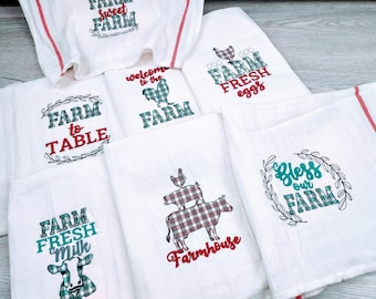 Primitive Farm to table, fresh farm eggs, cow milk, chicken plaid gingham tartan dish kitchen towel SET 7 quotes machine embroidery designs