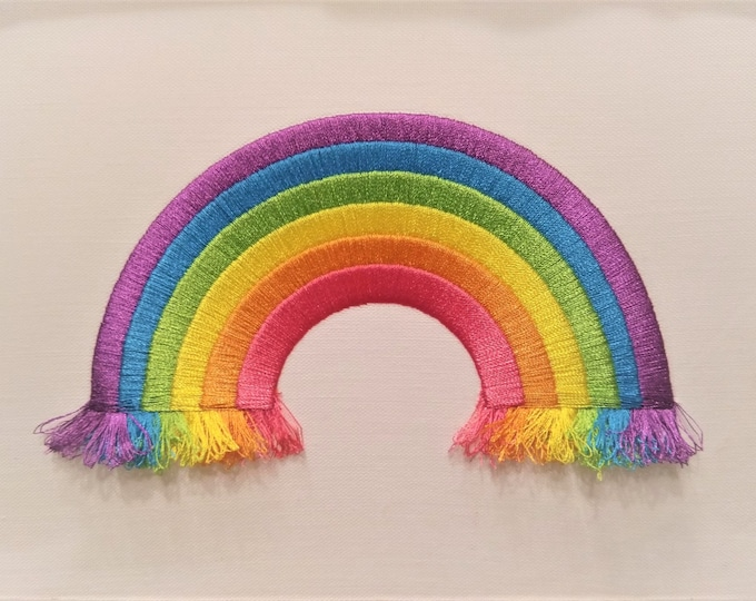 Rainbow in the hoop fringed awesome rainbow machine embroidery design, 4x4 and 5x7 INSTANT DOWNLOAD