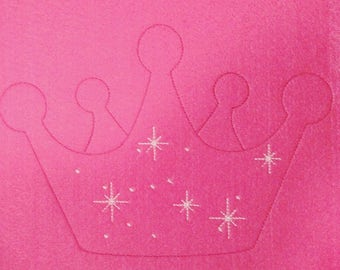 Little Princess Crown quick bean stitch outline simple triple stitch outline machine embroidery applique design - assorted sizes