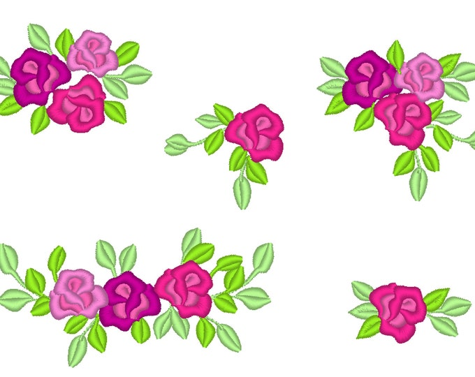 Accent mini flowers, machine embroidery designs, big set of various multiple sizes, mini beautiful roses, rose embroidery floral flowers