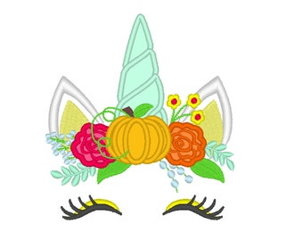 Classy Autumn pumpkin Unicorn head with shabby chick roses flowers crown applique machine embroidery designs Rainbow unicorn embroidery face