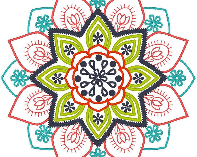 Mehndi circle ornament - machine embroidery designs INSTANT DOWNLOAD assorted sizes 4x4, 5x5, 6x6 and 8x8 colorful mandala flower