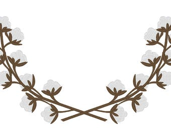 Cotton Branches wreaths frame  - INSTANT DOWNLOAD machine embroidery fill stitch designs - assorted sizes for hoops 4x4 and 5x7