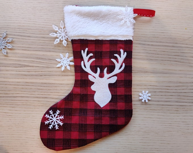 Buck deer Gingham plaid 2 types Christmas Stockings with cuff, Sock for advent, Easy In The Hoop ITH machine embroidery design Quilted