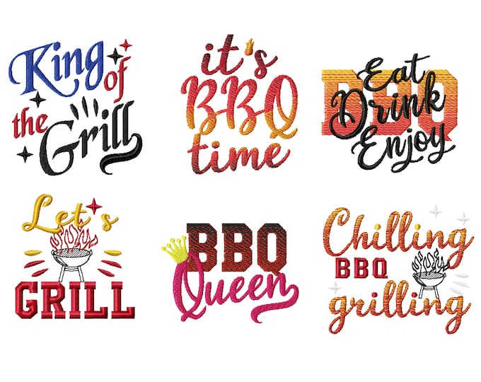 Set BBQ time, it is Barbecue time, apron, kitchen towel, summer time, gradient, rainbow,  iridescent embroidery design 4, 6, 7, 8  inches