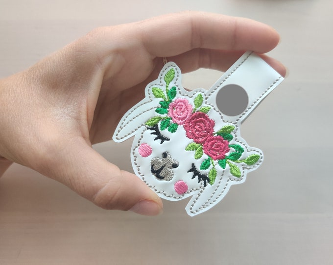 Roses Floral crown llama head, alpaca head with flowers, ITH key fob, mini machine embroidery design, key fobs feltie in the hoop embroidery