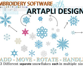 Frozen single Snowflakes embroidery designs and Easy Embroidery Software INCLUDED, 23 separate designs and MANY sizes, INSTANT download