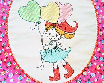Little girl gnome heart balloons redwork sketch outline baby machine embroidery design quick stitch for hoop 4x4, 5x7 INSTANT DOWNLOAD
