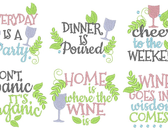 Shabby chick floral natural organic kitchen towels wine cute quotes machine embroidery designs 4x4 5x7 kitchen towels embroidery wine lovers