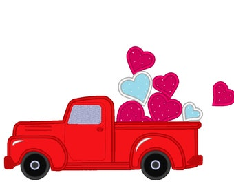 Vintage station wagon red truck, with hearts in the back, red truck with floating heart machine embroidery applique fill design 4x4 5x7 6x10