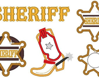 Sheriff Set, Boot and Star Badge- machine embroidery separately applique designs - 3, 4, 5 and 6 inches