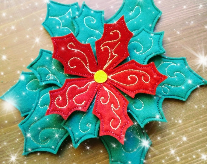 Christmas flower Poinsettia Simple In the hoop bow leaves, leaf bean stitch outline simple triple stitch outline embroidery applique design