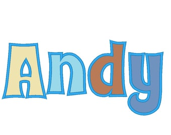Andy Monogram applique Font machine embroidery applique design monogram alphabet lowercase and uppercase letters and punctuation from 1.5in