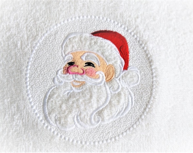 Embossed Terry Towel Santa Clause circle design - machine embroidery  designs 4x4 and 5x7, 6x10 INSTANT DOWNLOAD
