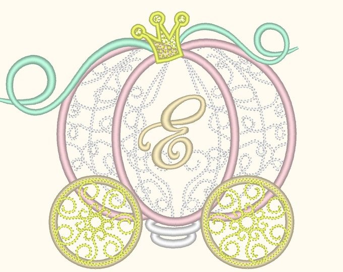 Cinderella Carriage Princess lace Monogram machine embroidery applique designs for hoops 4x4 and 5x7, 6x10