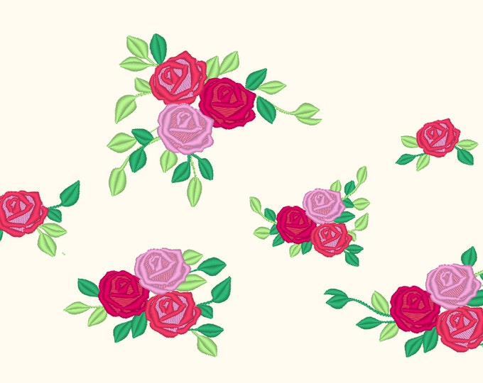 Accent mini flowers, machine embroidery designs, Big set of various, may sizes, mini beautiful roses, rose embroidery