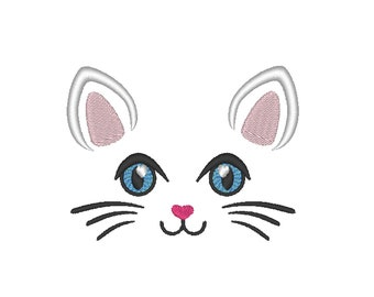 Pretty Kitty face  machine embroidery embroidery design cat head kitty face embroidery