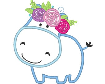 Hippo Baby  with flowers floral crown roses Applique Design Baby Hippo machine embroidery applique designs 4x4 5x7