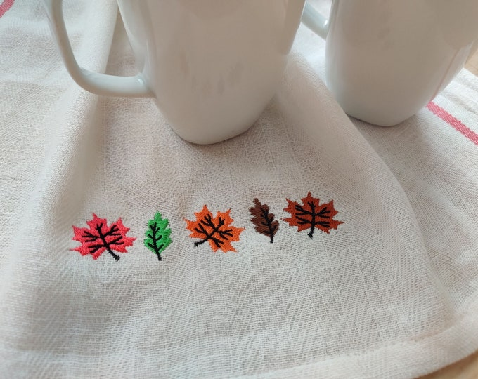 Mini autumn leaves row, accent embroidery designs 4, 5, 6 and 7 inches row border decoration