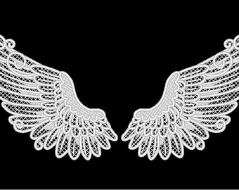 FSL, Free standing angel wings embroidery designs 4x4 5x7 6x10 Used with water soluble stabilizer Little angel wings lace embroidery FSL