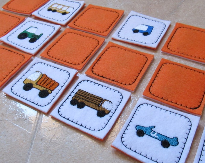 "Memory game ""Cars"" In The Hoop project, machine embroidery design, children game embroidery, download for 4x4, 5x7 and 6x10 INSTANT DOWNLOAD"