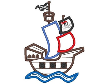 Pirate Ship - machine embroidery applique outline designs - 4x4, 5x7, 6x10  INSTANT DOWNLOAD