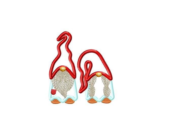 Two gnomes in a row Merry Christmas Gingham Gnomes 2 row machine embroidery design 4x4 5x7 8x8 INSTANT DOWNLOAD