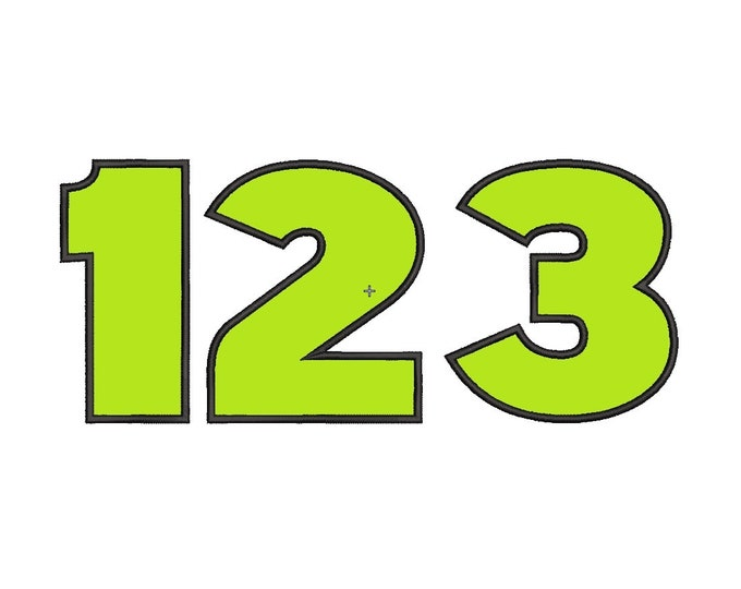 Bold block wide satin stitch Numbers, birthday number machine embroidery applique designs 2, 3, 4, 5, 6, 7, 8 inches BX included