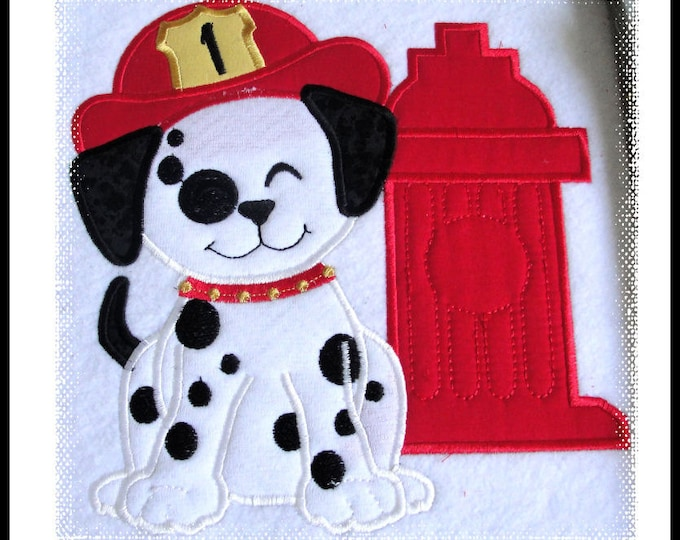 Dalmatian Puppy plain and with fire department hat and hydrant, machine applique files separately for hoop 4x4, 5x7 and 6x10