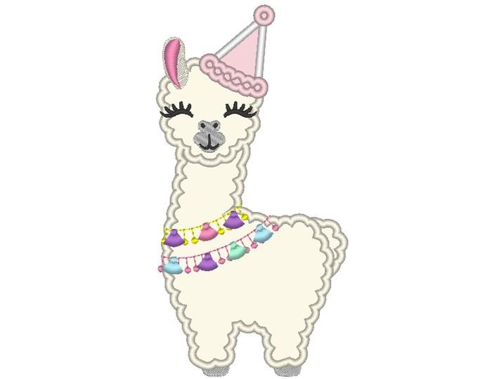 Birthday hat Llama alpaca Birthday llama Applique Design lama machine embroidery designs 5x7 6x10