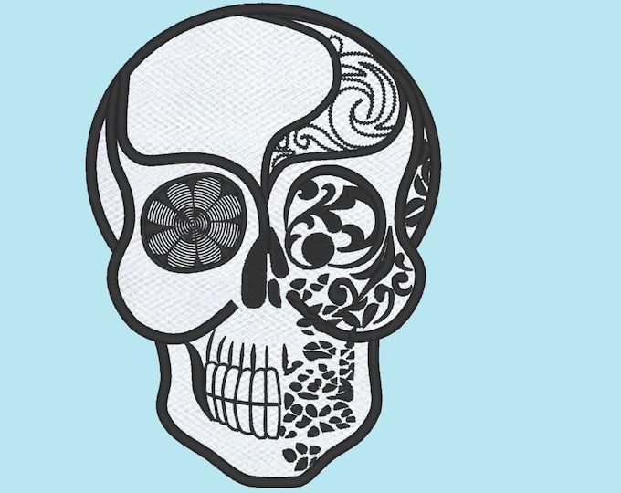 Skull applique embroidery - Machine embroidery applique designs -  4 5  and 7 inches  lace applique awesome embroidery designs