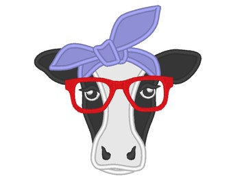 Cow face, cow head, cow with bandanna and glasses, farm animal heifer cow applique cute farm theme applique machine embroidery designs