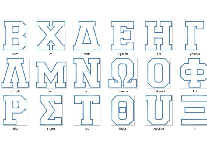 Sport block athletic varsity Greek font, alphabet, ABC, letters 1Greek font sororities, applique Font machine embroidery applique design