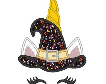 Witch hat Halloween Unicorn head  applique machine embroidery designs Rainbow unicorn face fall